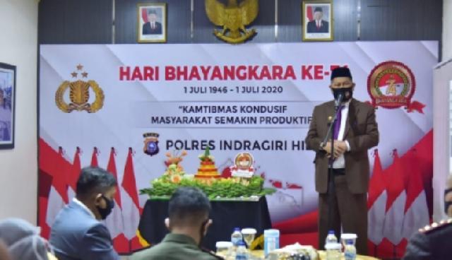 Wabup Inhil Ikuti Apel HUT Bhayangkara Ke-74