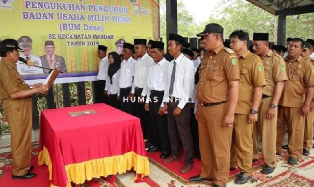 Bupati Inhil Kukuhkan Pengurus BUMDes se-Kecamatan Mandah