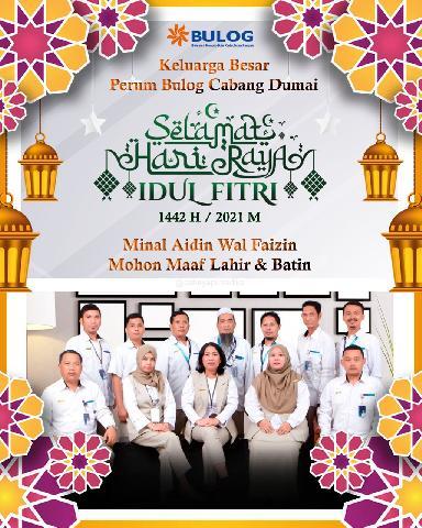 Keluarga Besar Perum Bulog Cabang Dumai mengucapkan Selamat Hari Raya Idul Fitri 1442 H / 2021 M