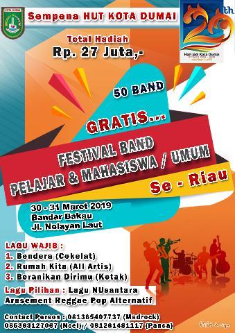 Festival Band Pelajar dan Mahasiswa / Umum Se Riau (GRATIS)